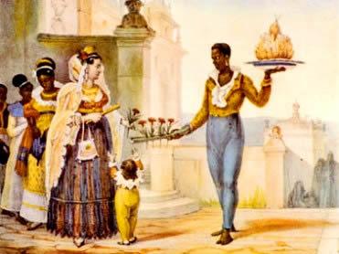Escravo no Brasil: bem vestido em alguns momentos, mas invariavelmente descalço.