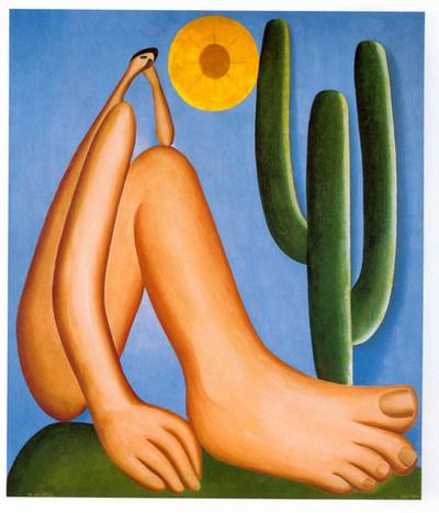 """""""Abaporu"""", Tarsila do Amaral. Mãos e pés grandes, cabeça pequena."""