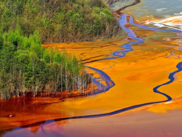 Águas residuais da indústria têxtil, na China.