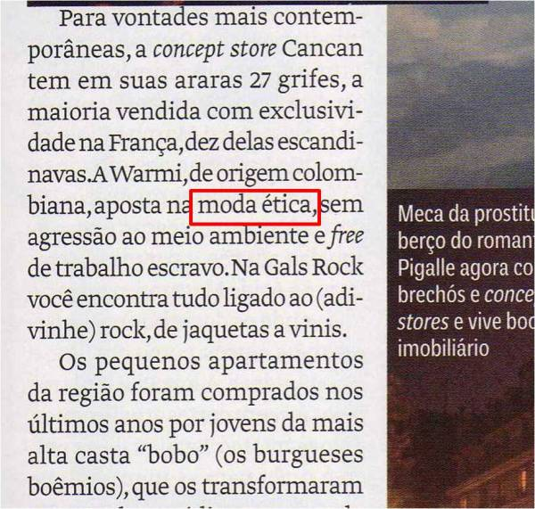 Moda ética na Vogue Brasil.