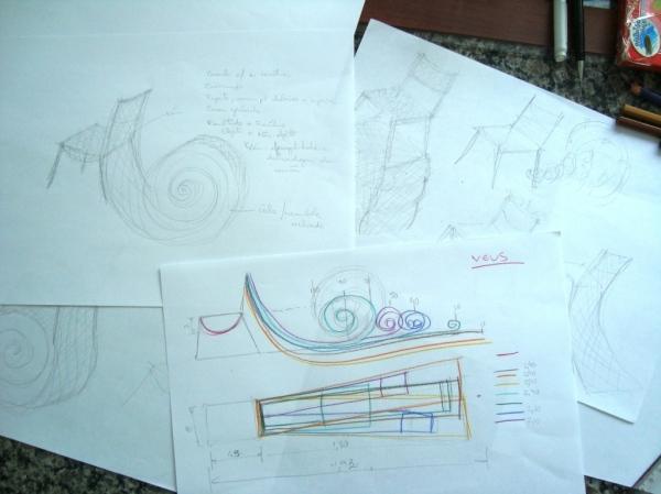 Da geração de alternativas, escolhemos os melhores conceitos (expressados em desenhos) e desenvolvemos um desenho.