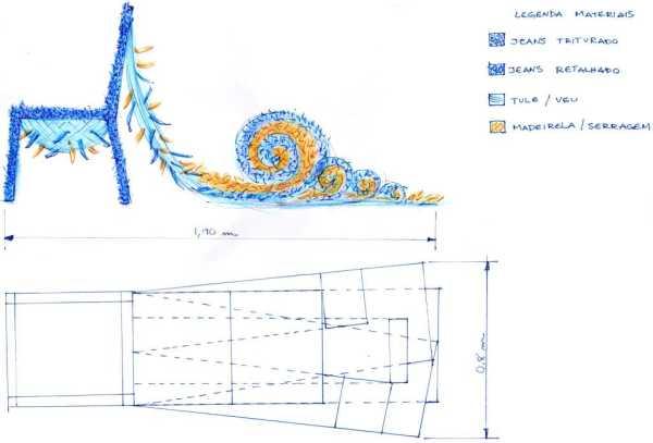 Sketch técnico demonstrando a ideia da cadeira.