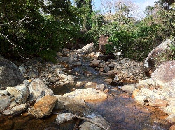 Um belo riacho que se integrava às cachoeiras.