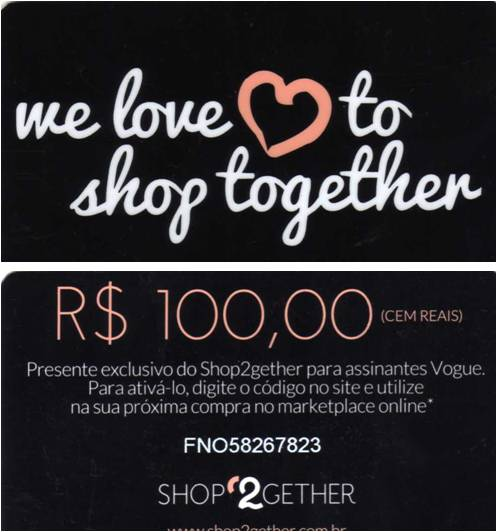 Cartão de vale-compras do Shop2gether para assinantes da Vogue.