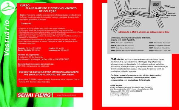 Curso de Planejamento e Desenvolvimento de Coleção, Senai Modatec, Belo Horizonte-MG